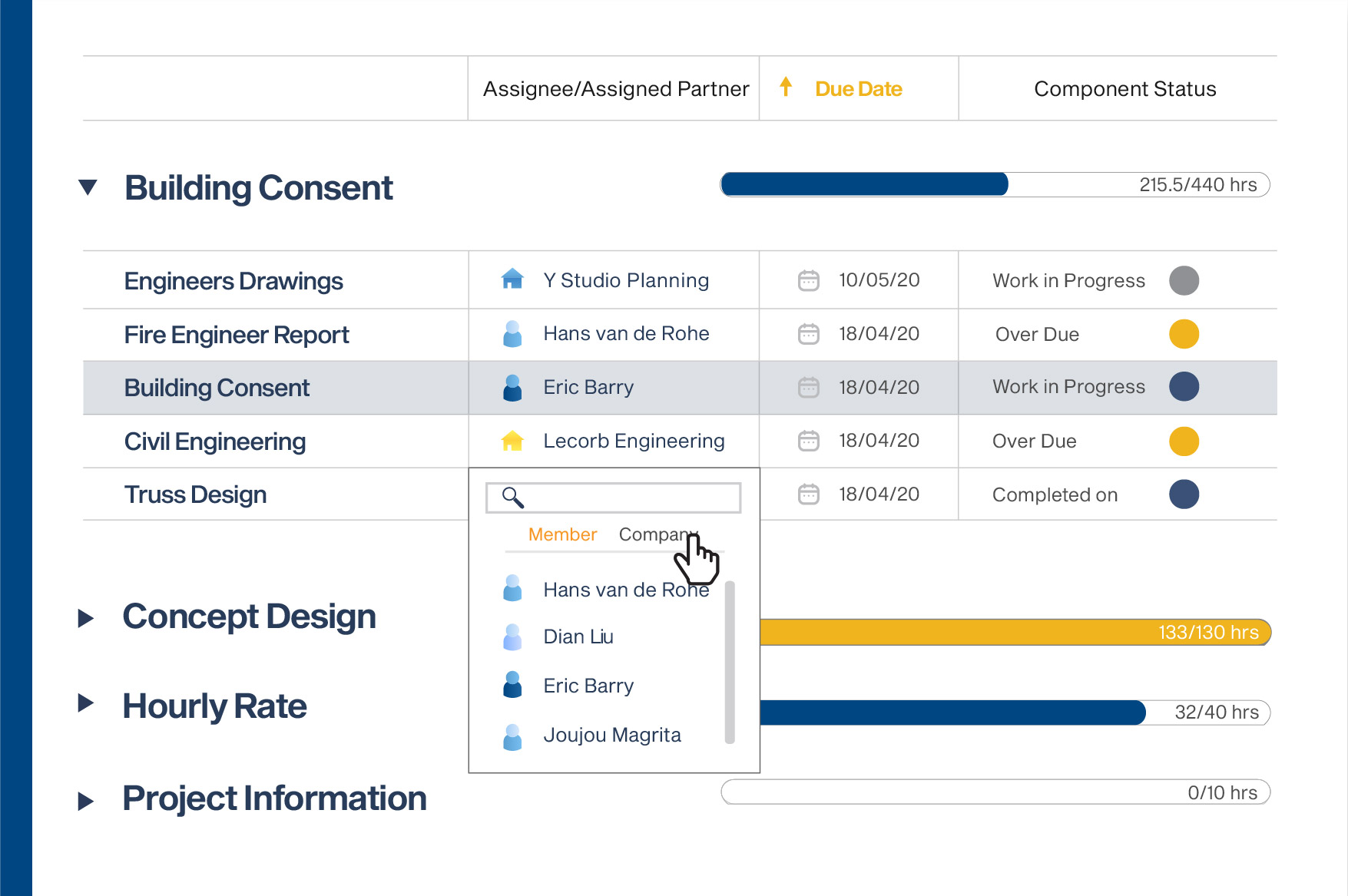 screenshot of Clarc project management tools